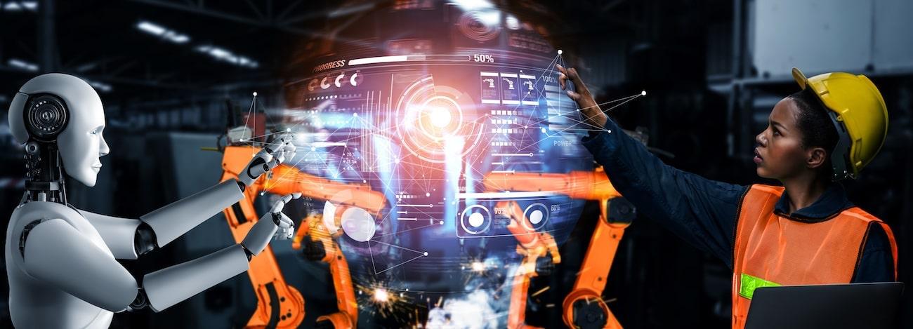 Essere umano e robot lavorano assieme